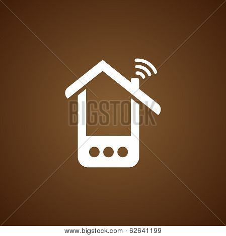 Phone house icon over brown