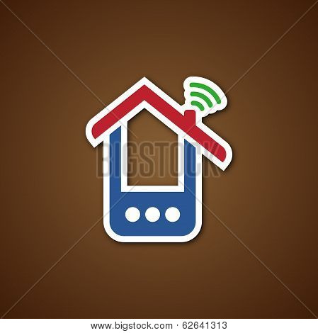 Paper phone house icon over brown