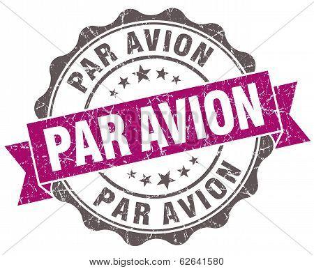 Par Avion Violet Grunge Retro Style Isolated Seal