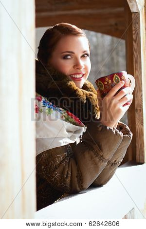 Russian Woman In A Scarf And Coat