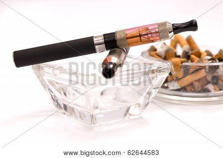 Empty Ashtray With E-cigarette