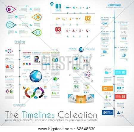 Timeline Infographic design template with paper tags. Idea to display information, ranking and statistics with orginal and modern style.