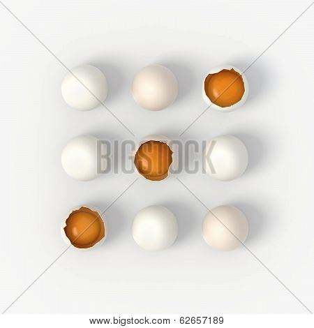 Crashed Eggs Game - Noughts And Crosses