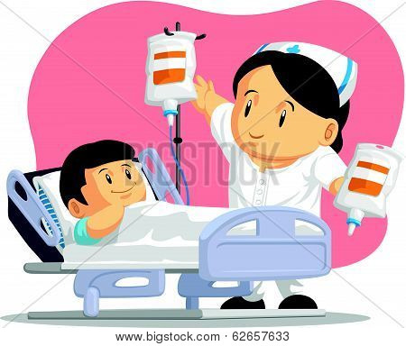 Cartoon of Nurse Helping Child Patient