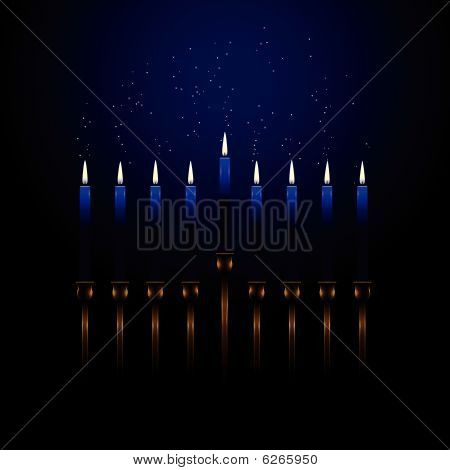 Menorah with sparks