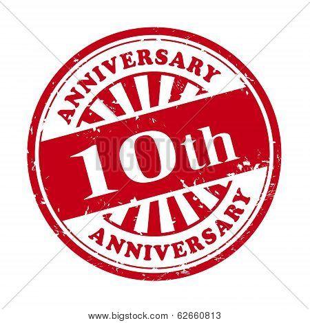 10Th Anniversary Grunge Rubber Stamp