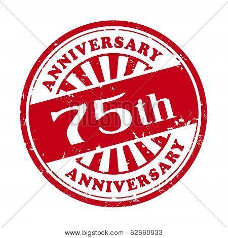 75Th Anniversary Grunge Rubber Stamp