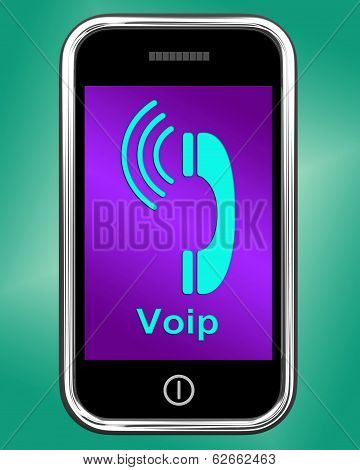 Voip On Phone Shows Voice Over Internet Protocol Or Ip Telephony