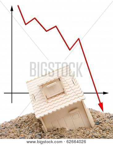 House Sinking With A Downward Arrow On Background, Vertical