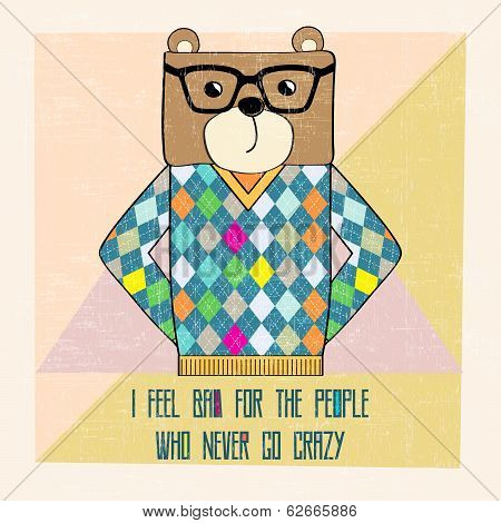 cool bear hipster hand draw illustration in vector format poster