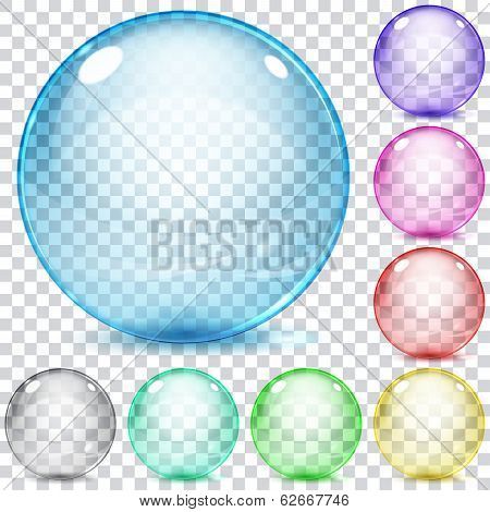 Set Of Multicolored Transparent Glass Spheres
