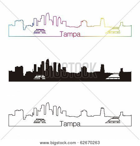 Tampa skyline linear style with rainbow in editable vector file poster