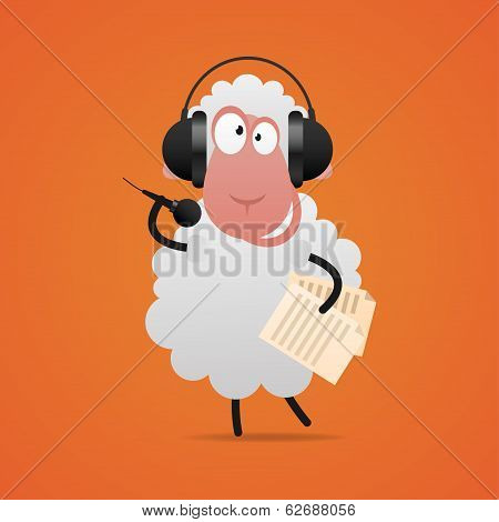 poster of Illustration, cheerful sheep in headphones singing in microphone, format EPS 10