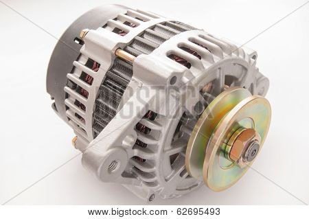 automobile alternator isolated on white backgroun
