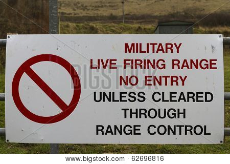 Sign Military Firing Range No Entry
