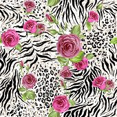 Animal skin and roses. Seamless repeating pattern poster