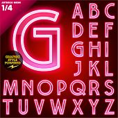Vector illustration of abstract neon tube alphabet for light board. Red Art deco poster