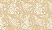 Elegant white flower seamless pattern on beige background poster