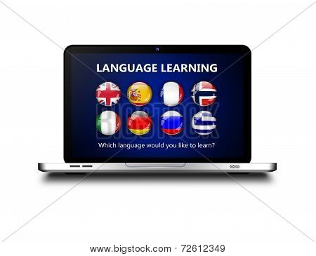 Laptop With Language Learning Page Over White