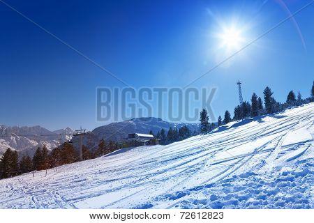 Ski resort view in Bansko, Bulgaria