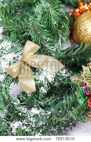Decoration Golden Billow On New Year Tree Branch
