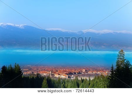 Town view of roofs and mountains in Bulgaria