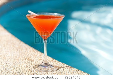Cocktail Margarita With Ice Near Swimming Pool