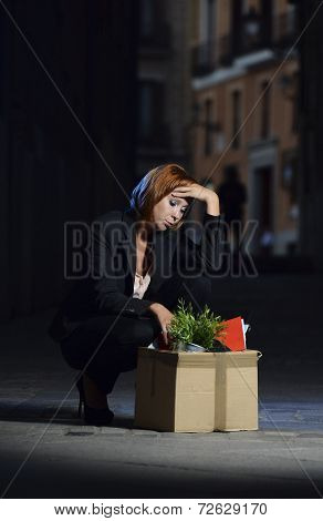 Young Jobless Business Woman Fired From Work Sad In Depression And Stress