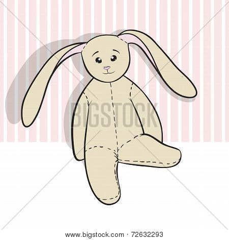 Hand-drawing rag bunny isolated on white and pink poster