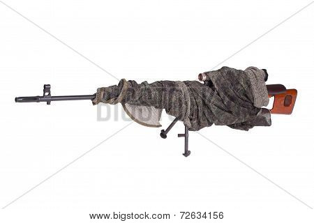 Camouflaged Svd Sniper Rifle Isolated On A White Background
