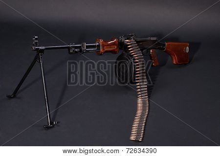 Soviet Army Machinegun On Black Background