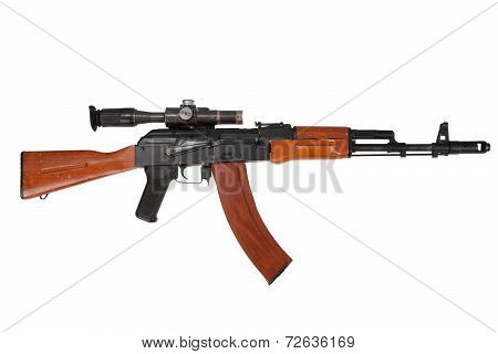assault rifle ak74 with sniper scope isolated on a white background poster