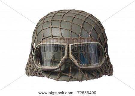 camouflaged nazi german helmet with protective goggles poster