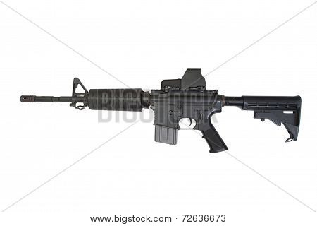 Rifle With Advanced Combat Optical Gunsight Isolated On A White Background