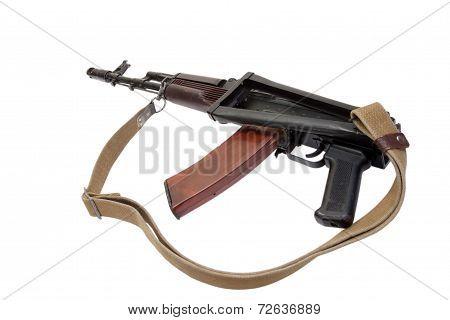 kalashnikov rifle ak74 isolated on a white background poster