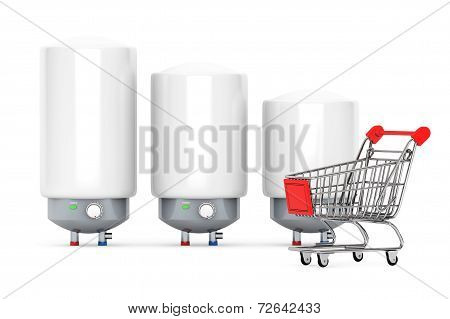 Three Modern Automatic Water Heaters with Shopping Cart on a white background poster
