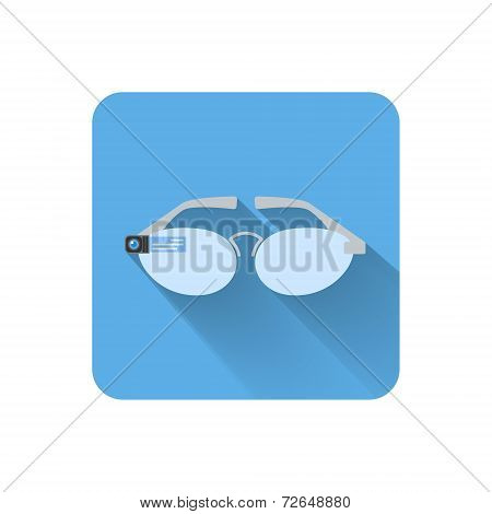 Flat Wearable Computer Glasses Icon. Vector Illustration