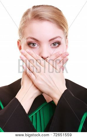 Woman Lawyer Attorney Wearing Classic Polish Gown Covering Mouth