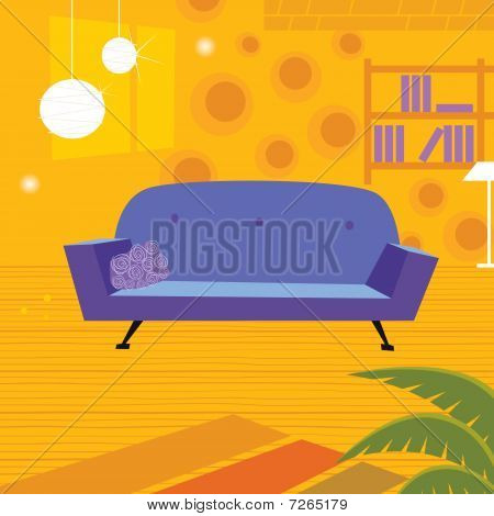 Retro living room in retro style
