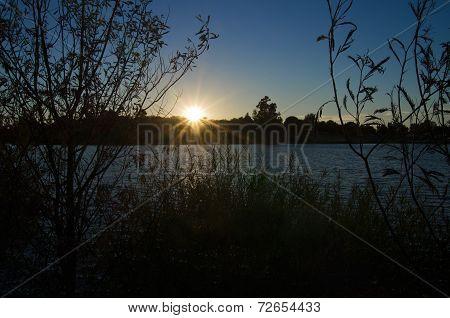 Sunset Over Lake Bank
