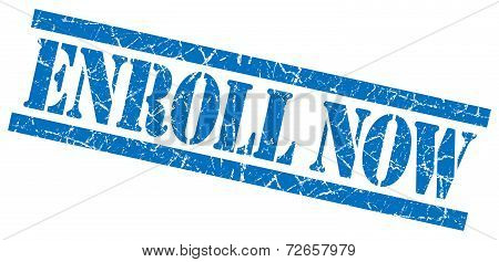 Enroll Now Blue Grungy Stamp Isolated On White Background