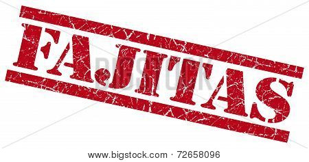 Fajitas Red Grungy Stamp Isolated On White Background