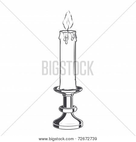Burning Old Candle And Vintage Candlestick Isolated On A White Background. Monochromatic Line Art. R