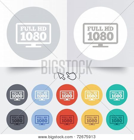 Full hd widescreen tv sign icon. 1080p symbol. Round 12 circle buttons. Shadow. Hand cursor pointer. Vector poster
