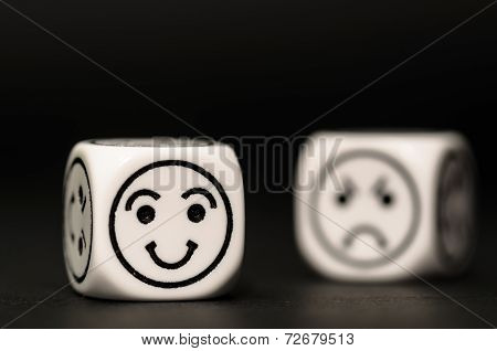 Emoticon Dice With Happy And Sad Expression Sketch