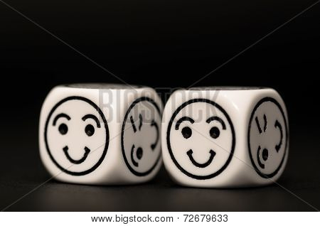 Emoticon Dice With Happy Expression Sketch