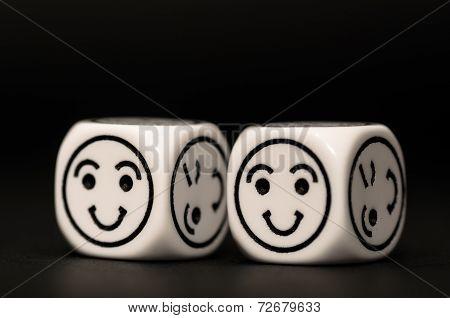 Emoticon Dice With Happy Expression Sketch