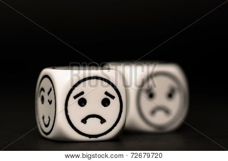 Emoticon Dice With Sad Expression Sketch