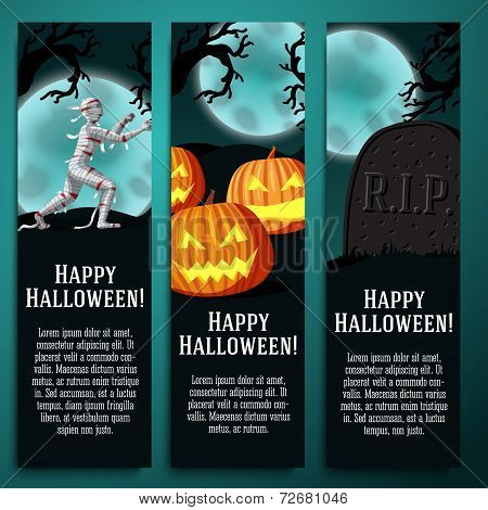 Set of halloween banners with mummy, jack o lantern pumpkins, R.I.P. tombstone symbols - moony backg