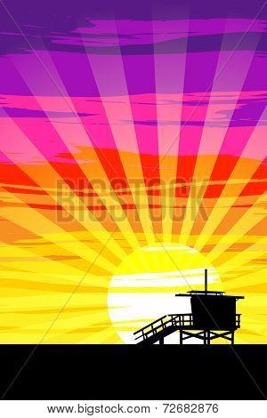 Sunset On Venice Beach, Los Angeles, California. Eps10 Vector